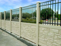 Commercial simulated stone vinyl fencing and aluminum